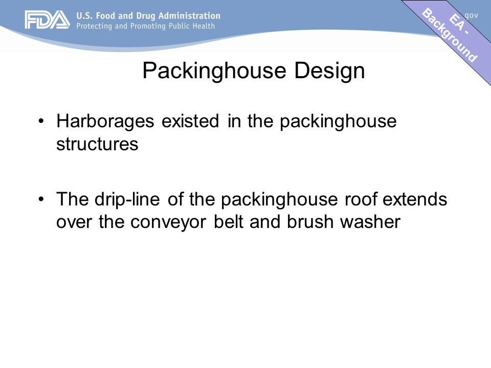 EA - Background Packinghouse Design Harborages existed in the packinghouse structures The drip-line of the packinghouse roof extends over the conveyor belt and brush washer