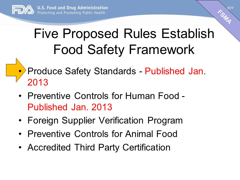 FSMA Produce Safety Standards - Published Jan.