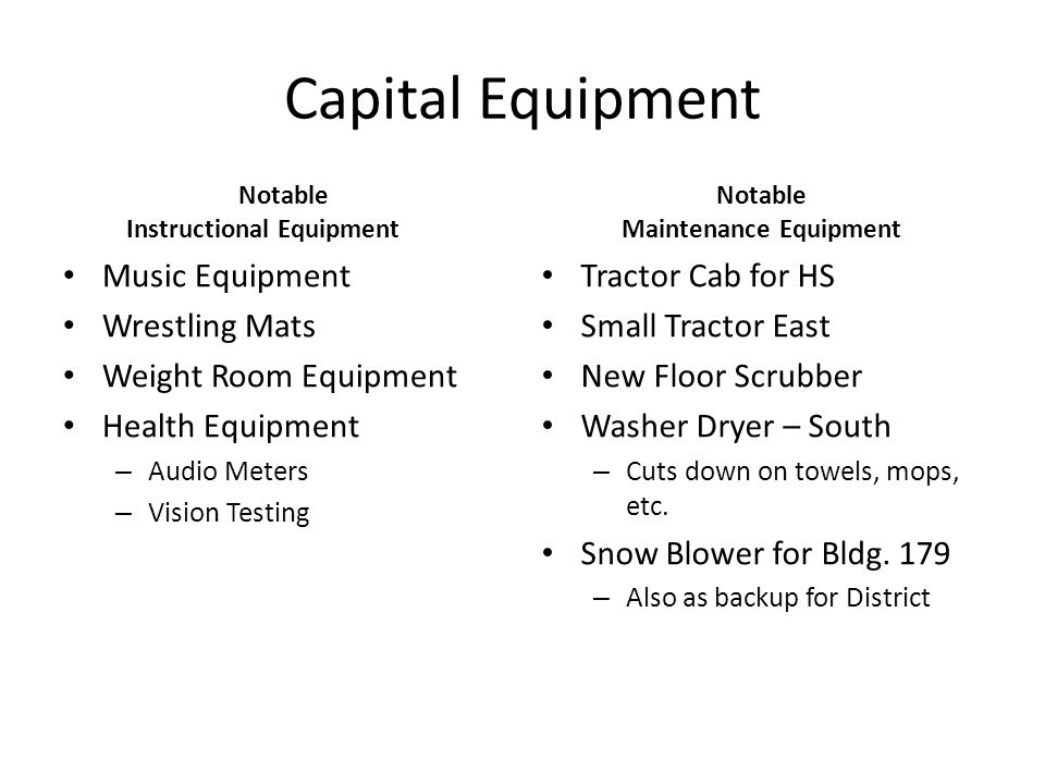 Capital Equipment Notable Instructional Equipment Music Equipment Wrestling Mats Weight Room Equipment Health Equipment – Audio Meters – Vision Testing Notable Maintenance Equipment Tractor Cab for HS Small Tractor East New Floor Scrubber Washer Dryer – South – Cuts down on towels, mops, etc.
