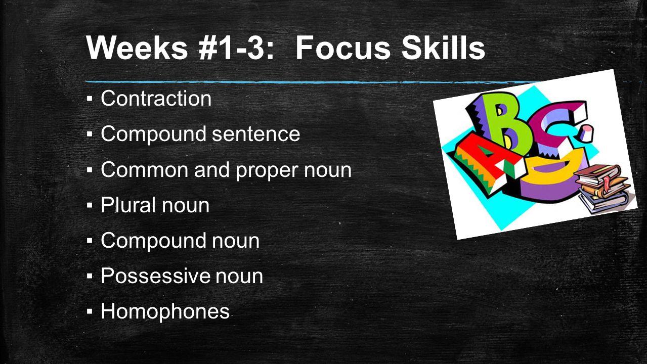 Weeks #1-3: Focus Skills ▪Contraction ▪Compound sentence ▪Common and proper noun ▪Plural noun ▪Compound noun ▪Possessive noun ▪Homophones