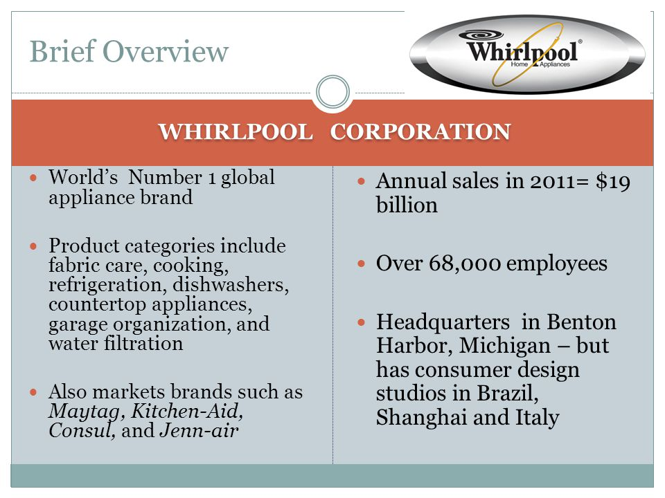 Whirpool's Commitment to Invest in America http://www.youtube.com/watch?v=tDMkQZr88ds Currently, we have more U.S.