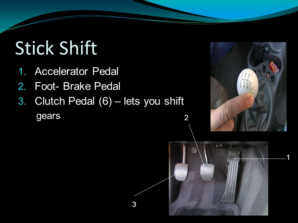 Stick Shift 1.Accelerator Pedal 2. Foot- Brake Pedal 3.