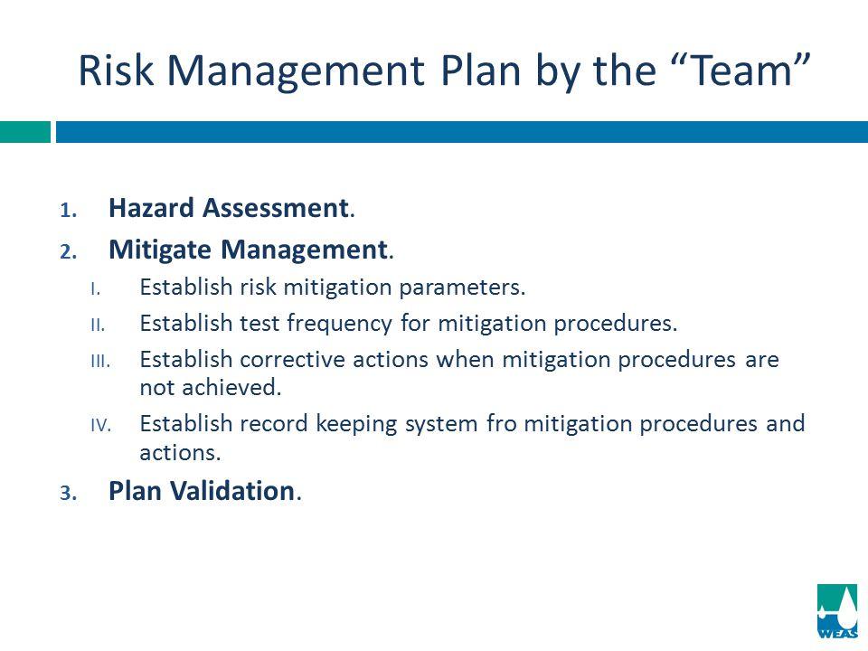 1. Hazard Assessment. 2. Mitigate Management. I. Establish risk mitigation parameters. II. Establish test frequency for mitigation procedures. III. Es