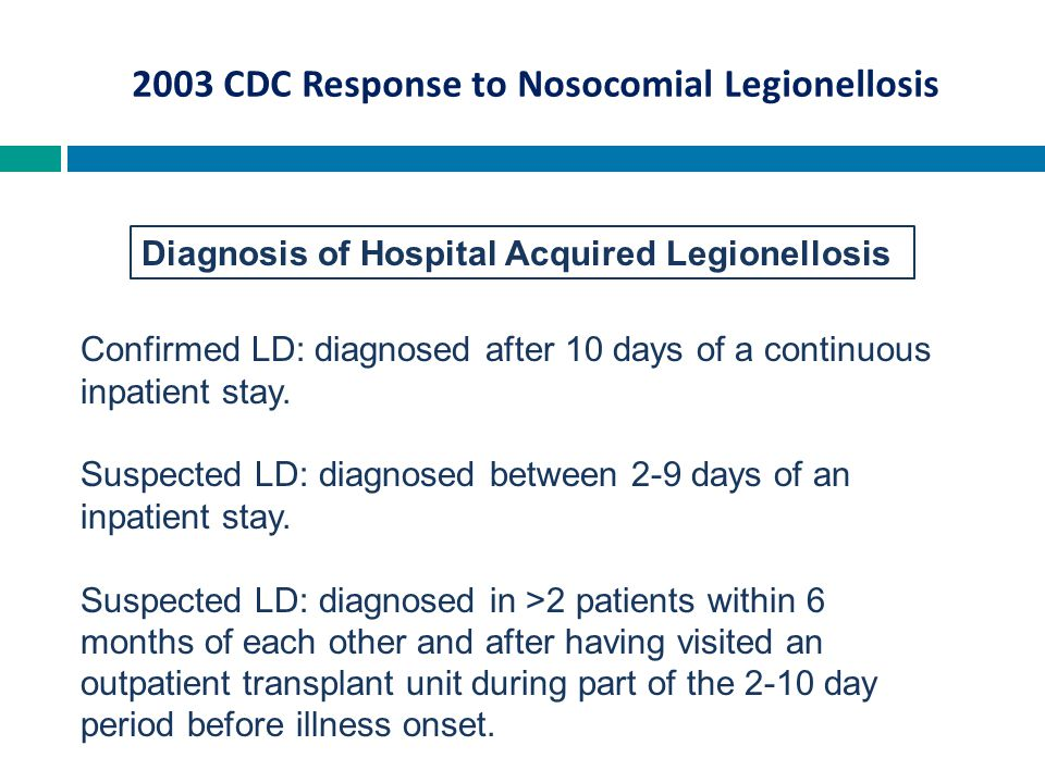 Diagnosis of Hospital Acquired Legionellosis Confirmed LD: diagnosed after 10 days of a continuous inpatient stay. Suspected LD: diagnosed between 2-9