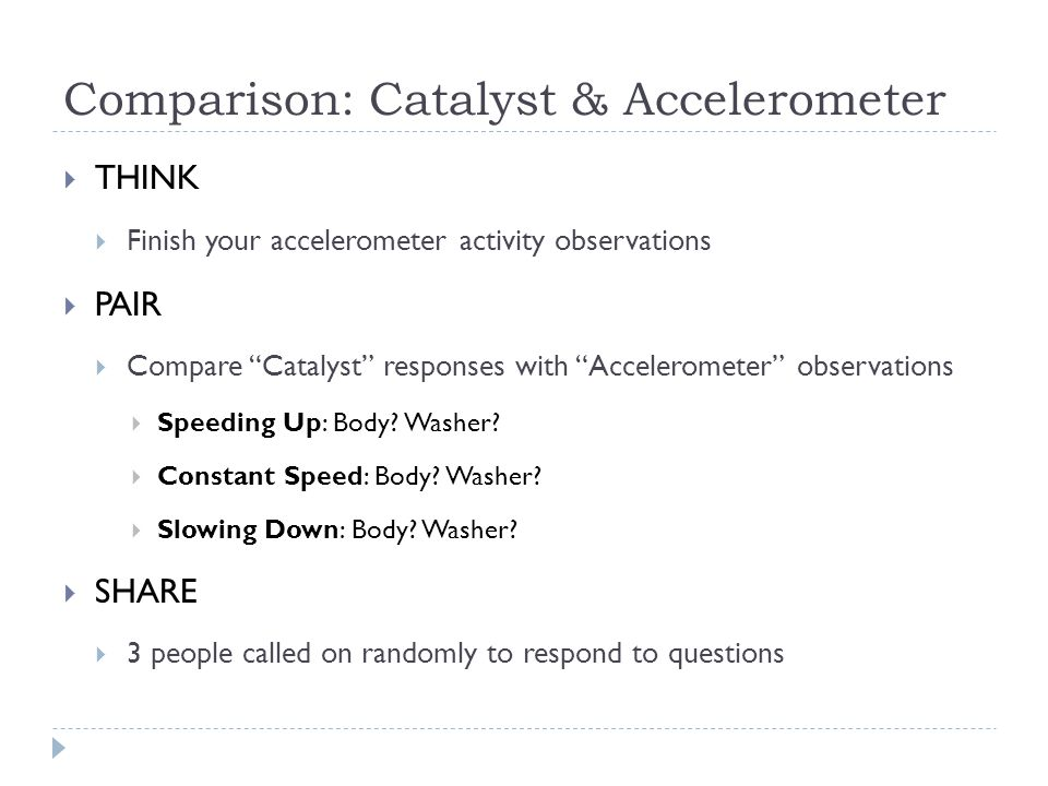 "Comparison: Catalyst & Accelerometer  THINK  Finish your accelerometer activity observations  PAIR  Compare ""Catalyst"" responses with ""Acceleromet"