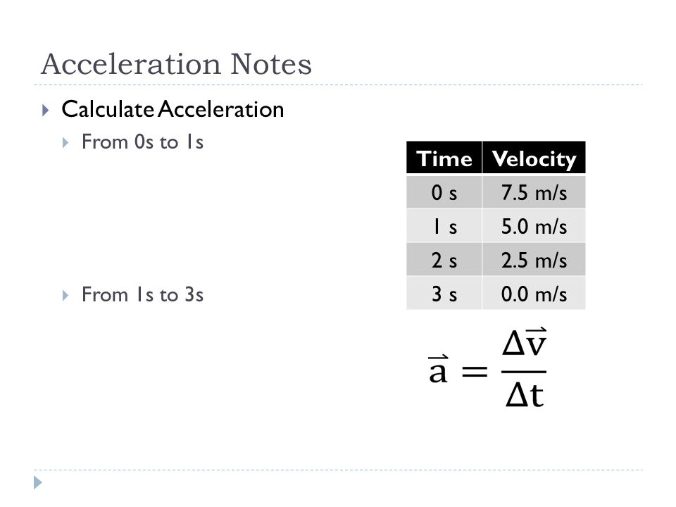 Acceleration Notes  Calculate Acceleration  From 0s to 1s  From 1s to 3s TimeVelocity 0 s7.5 m/s 1 s5.0 m/s 2 s2.5 m/s 3 s0.0 m/s