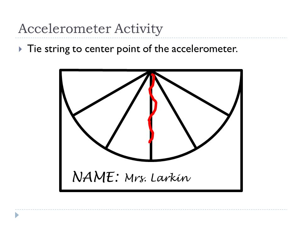 NAME: Accelerometer Activity  Tie string to center point of the accelerometer. Mrs. Larkin