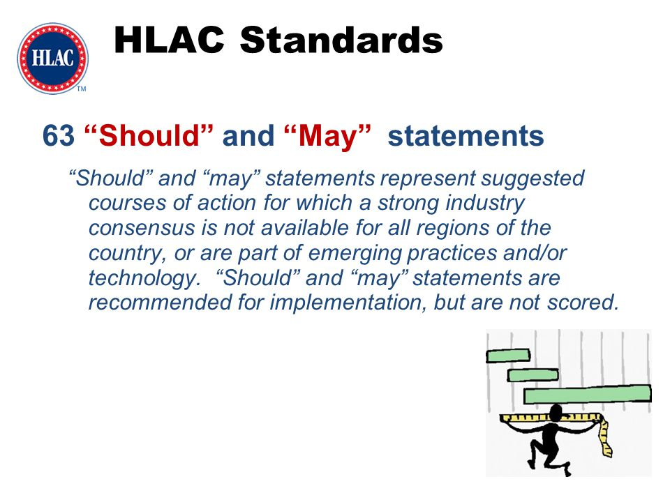 "HLAC Standards 63 ""Should"" and ""May"" statements ""Should"" and ""may"" statements represent suggested courses of action for which a strong industry consen"