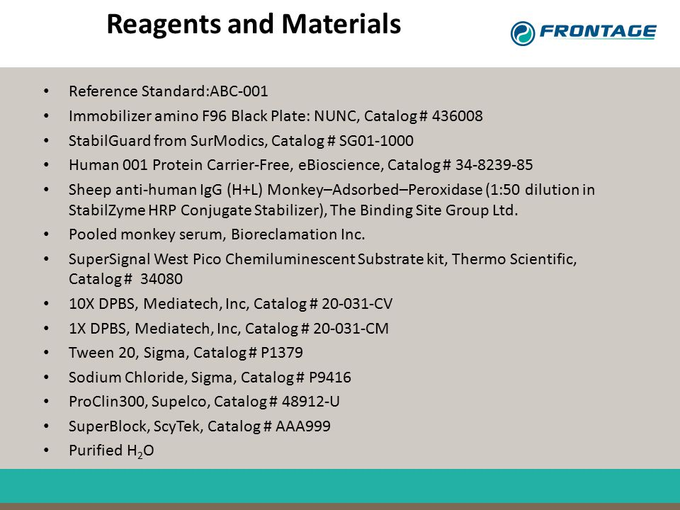Reagents and Materials Reference Standard:ABC-001 Immobilizer amino F96 Black Plate: NUNC, Catalog # 436008 StabilGuard from SurModics, Catalog # SG01