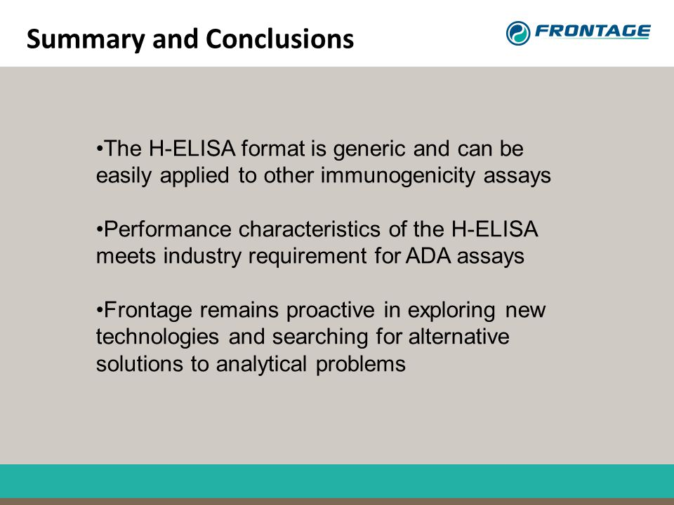 Summary and Conclusions The H-ELISA format is generic and can be easily applied to other immunogenicity assays Performance characteristics of the H-EL