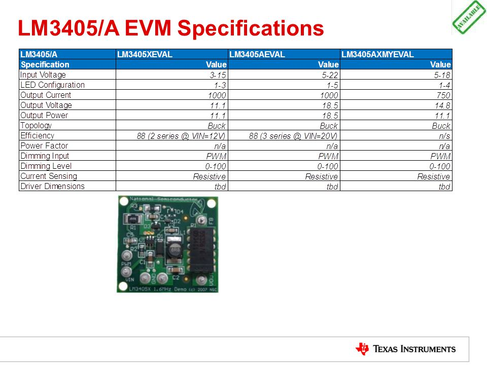 LM3405/A EVM Specifications