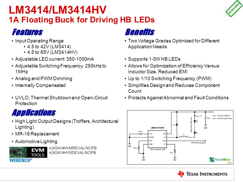 LM3414/LM3414HV 1A Floating Buck for Driving HB LEDs FeaturesBenefits Input Operating Range 4.5 to 42V (LM3414) 4.5 to 65V (LM3414HV) Two Voltage Grad