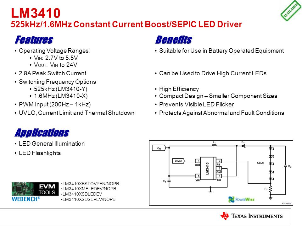 LM3410 525kHz/1.6MHz Constant Current Boost/SEPIC LED Driver FeaturesBenefits Operating Voltage Ranges: V IN : 2.7V to 5.5V V OUT : V IN to 24V Suitab