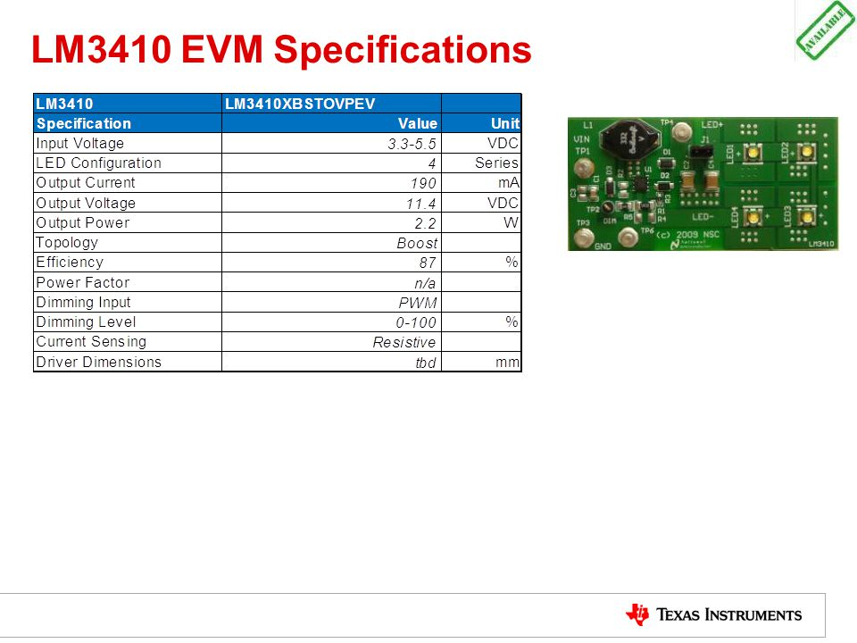 LM3410 EVM Specifications