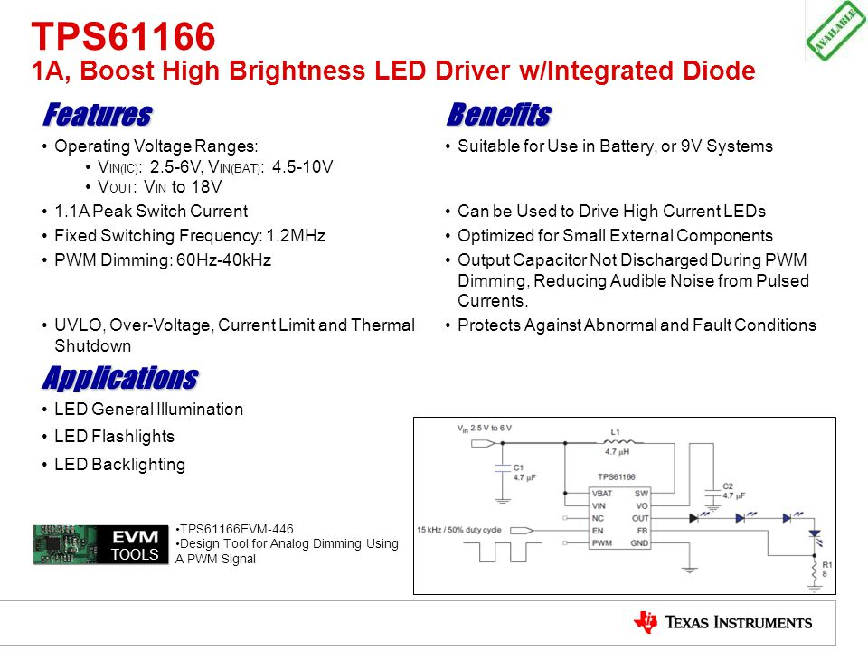 TPS61166 1A, Boost High Brightness LED Driver w/Integrated Diode FeaturesBenefits Operating Voltage Ranges: V IN(IC) : 2.5-6V, V IN(BAT) : 4.5-10V V O