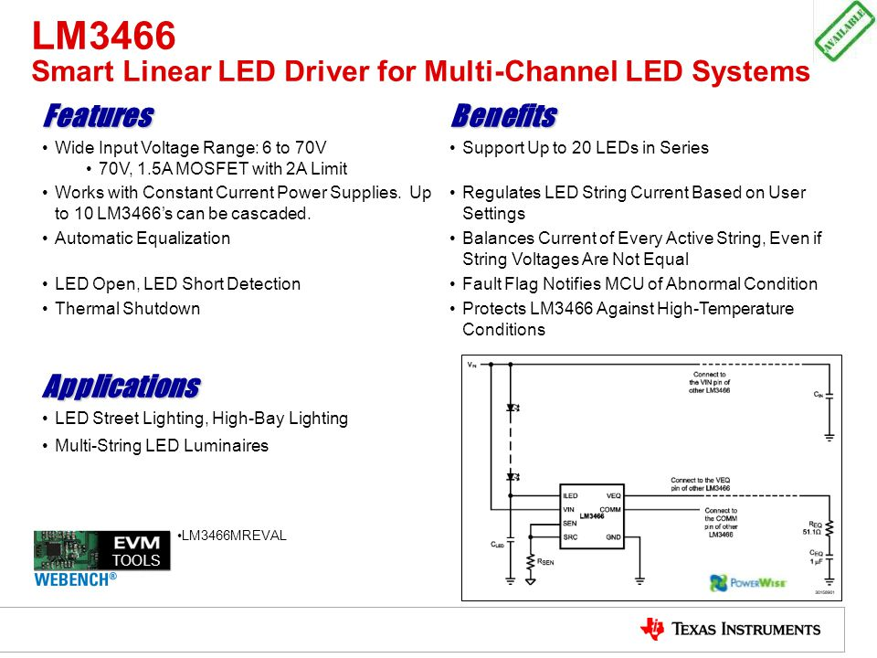 LM3466 Smart Linear LED Driver for Multi-Channel LED Systems FeaturesBenefits Wide Input Voltage Range: 6 to 70V 70V, 1.5A MOSFET with 2A Limit Suppor
