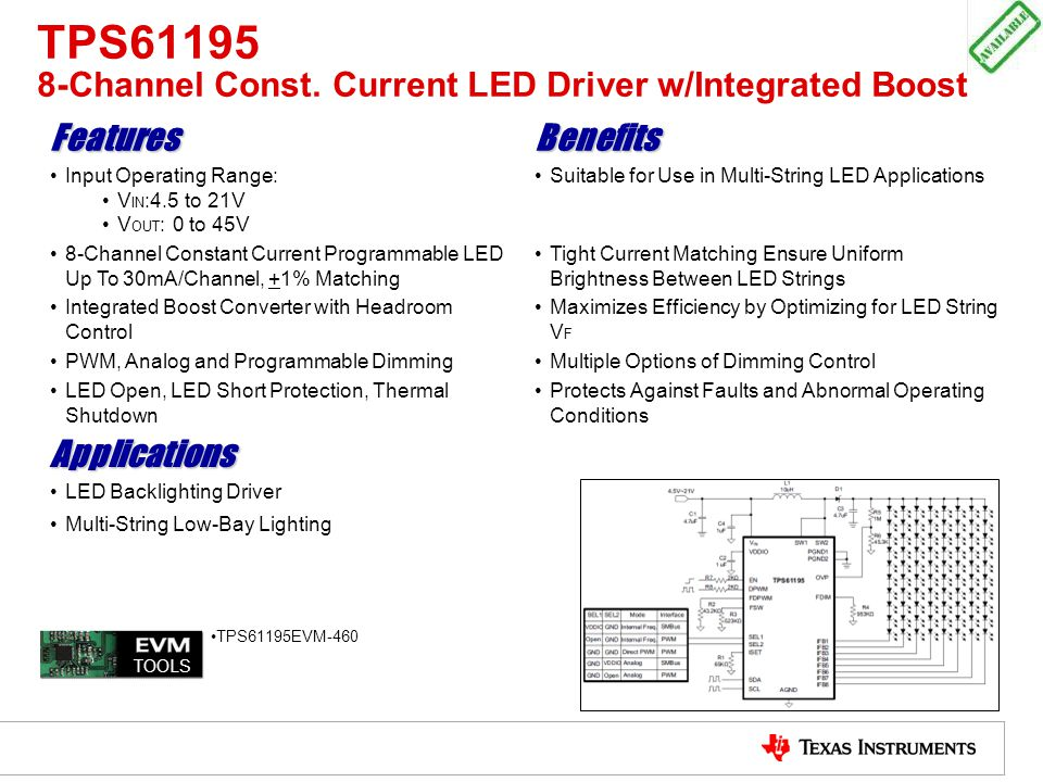 TPS61195 8-Channel Const. Current LED Driver w/Integrated Boost FeaturesBenefits Input Operating Range: V IN :4.5 to 21V V OUT : 0 to 45V Suitable for