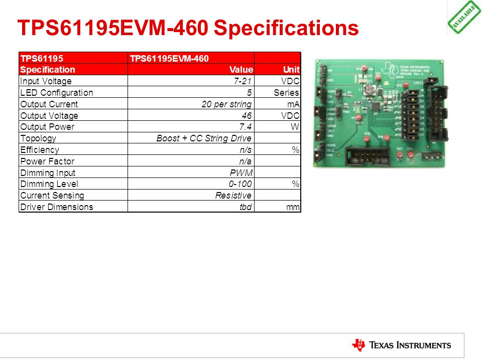 TPS61195EVM-460 Specifications