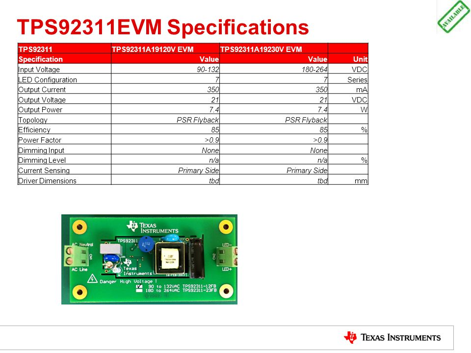 TPS92311EVM Specifications TPS92311TPS92311A19120V EVMTPS92311A19230V EVM SpecificationValue Unit Input Voltage90-132180-264VDC LED Configuration77Ser