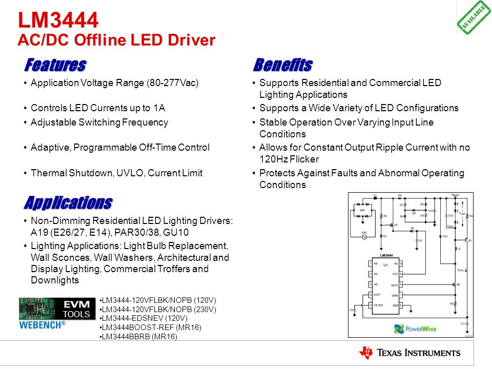 LM3444 AC/DC Offline LED Driver FeaturesBenefits Application Voltage Range (80-277Vac)Supports Residential and Commercial LED Lighting Applications Co