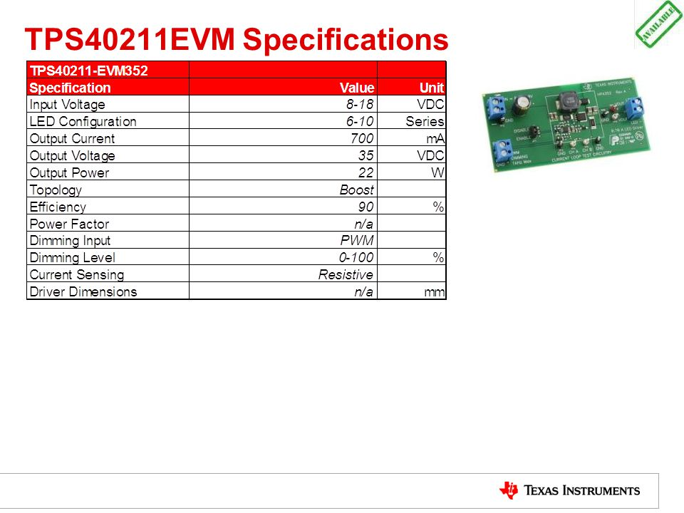 TPS40211EVM Specifications