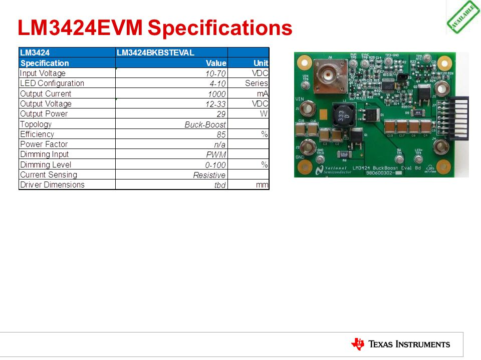 LM3424EVM Specifications