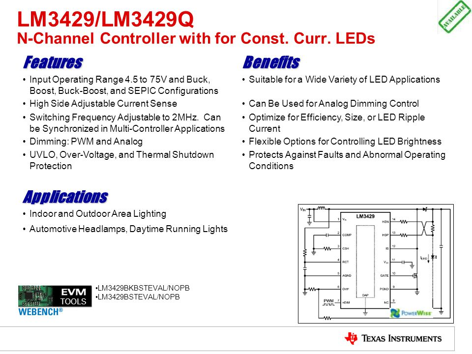 LM3429/LM3429Q N-Channel Controller with for Const. Curr. LEDs FeaturesBenefits Input Operating Range 4.5 to 75V and Buck, Boost, Buck-Boost, and SEPI