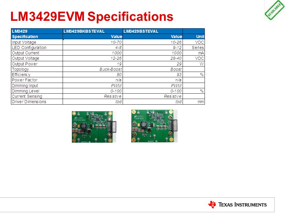 LM3429EVM Specifications