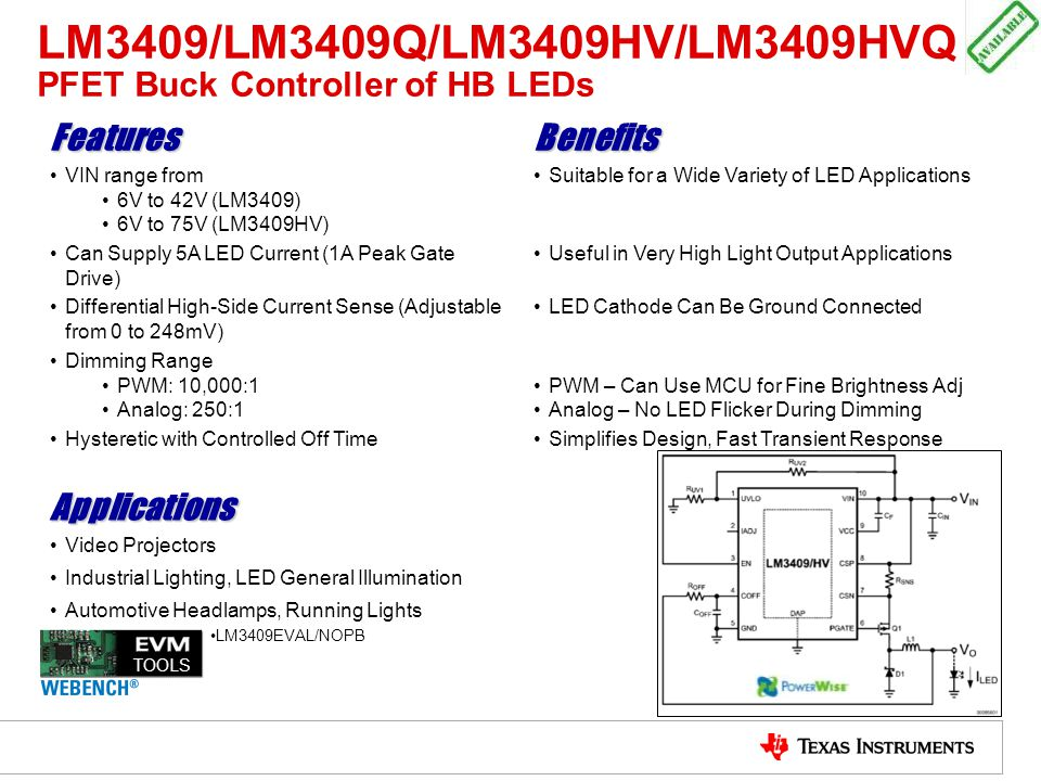 LM3409/LM3409Q/LM3409HV/LM3409HVQ PFET Buck Controller of HB LEDs FeaturesBenefits VIN range from 6V to 42V (LM3409) 6V to 75V (LM3409HV) Suitable for
