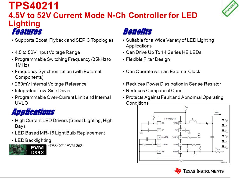 TPS40211 4.5V to 52V Current Mode N-Ch Controller for LED Lighting FeaturesBenefits Supports Boost, Flyback and SEPIC TopologiesSuitable for a Wide Va