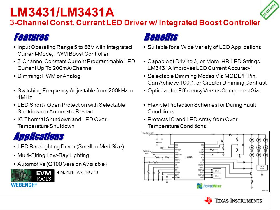 LM3431/LM3431A 3-Channel Const. Current LED Driver w/ Integrated Boost Controller FeaturesBenefits Input Operating Range 5 to 36V with Integrated Curr