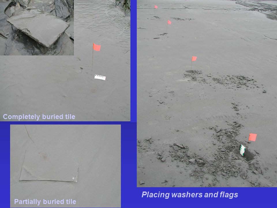 Completely buried tile Partially buried tile Placing washers and flags