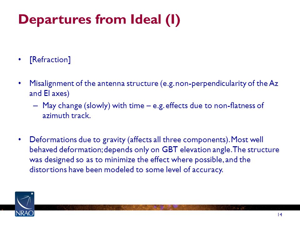 Departures from Ideal (I) [Refraction] Misalignment of the antenna structure (e.g.