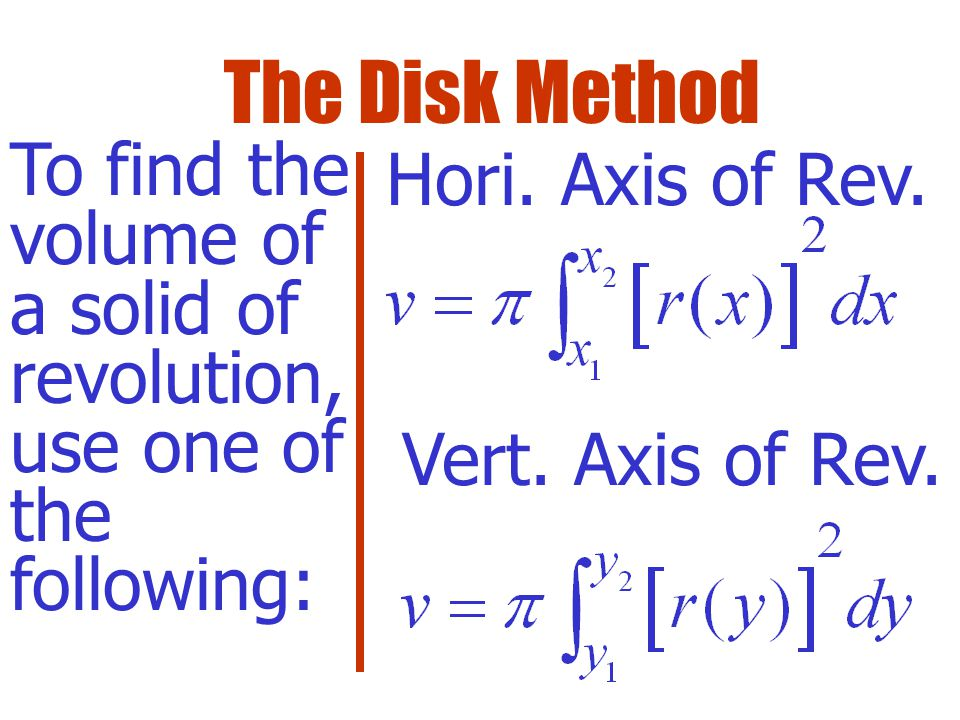 The total volume is given by the Riemann Sum: The definite integral is the accumulator of the disk volumes