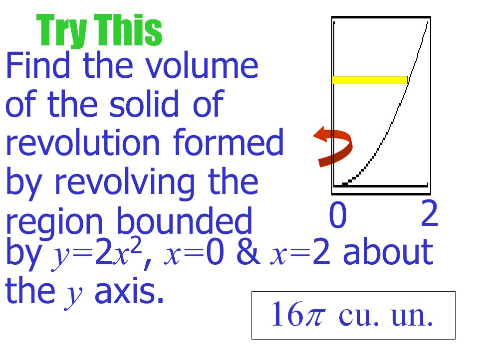 Example Find the volume of the solid of revolution formed by revolving the graph around the y axis. 0 1