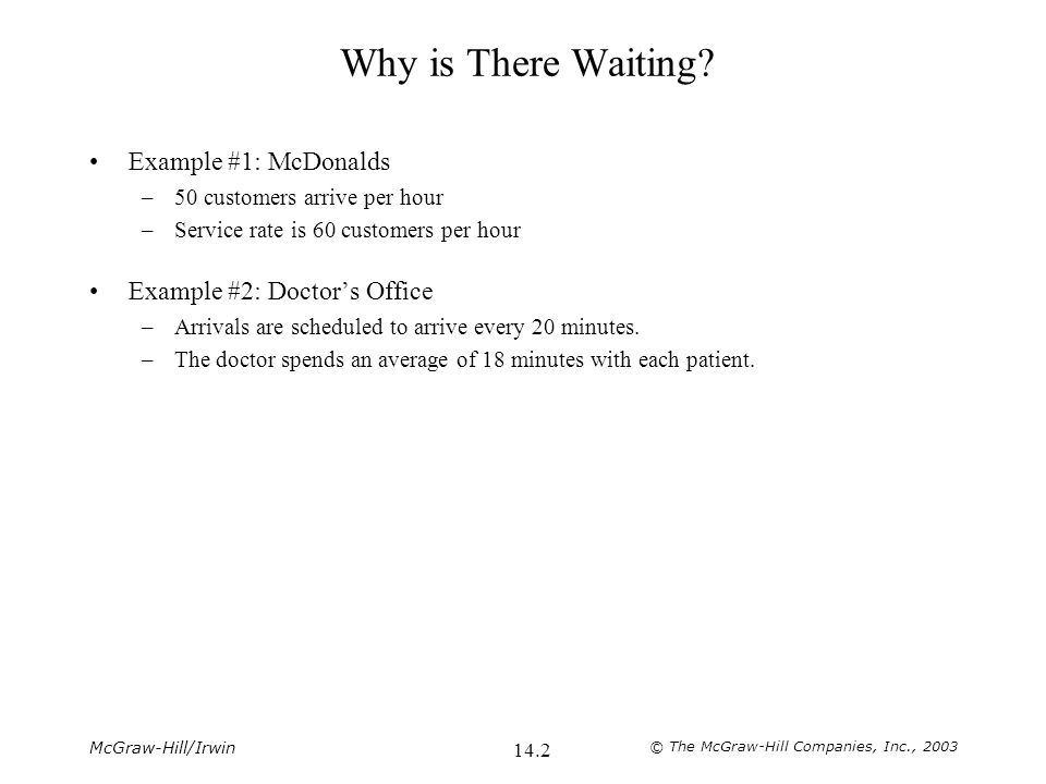 McGraw-Hill/Irwin © The McGraw-Hill Companies, Inc., 2003 14.2 Why is There Waiting.