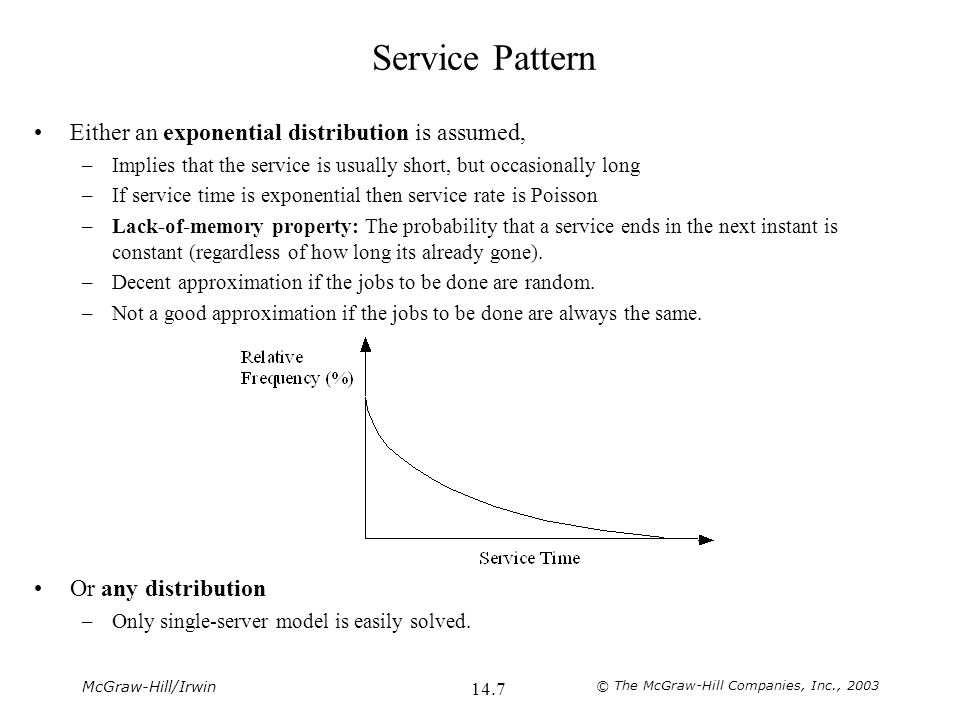 McGraw-Hill/Irwin © The McGraw-Hill Companies, Inc., 2003 14.7 Service Pattern Either an exponential distribution is assumed, –Implies that the service is usually short, but occasionally long –If service time is exponential then service rate is Poisson –Lack-of-memory property: The probability that a service ends in the next instant is constant (regardless of how long its already gone).