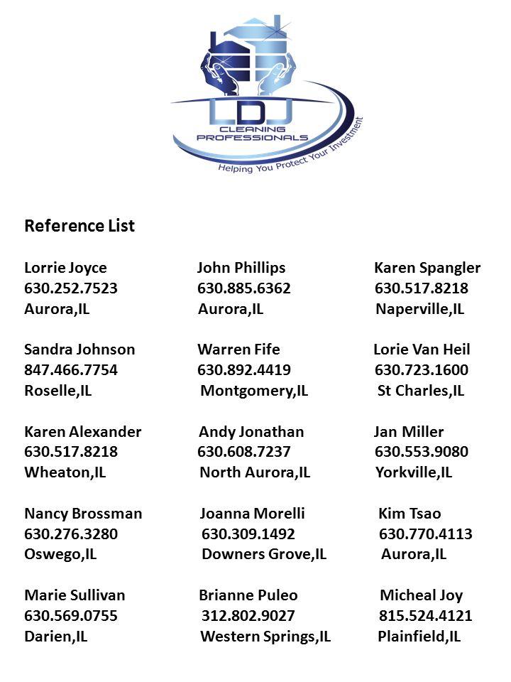 Reference List Lorrie Joyce John Phillips Karen Spangler 630.252.7523 630.885.6362 630.517.8218 Aurora,IL Aurora,IL Naperville,IL Sandra Johnson Warre