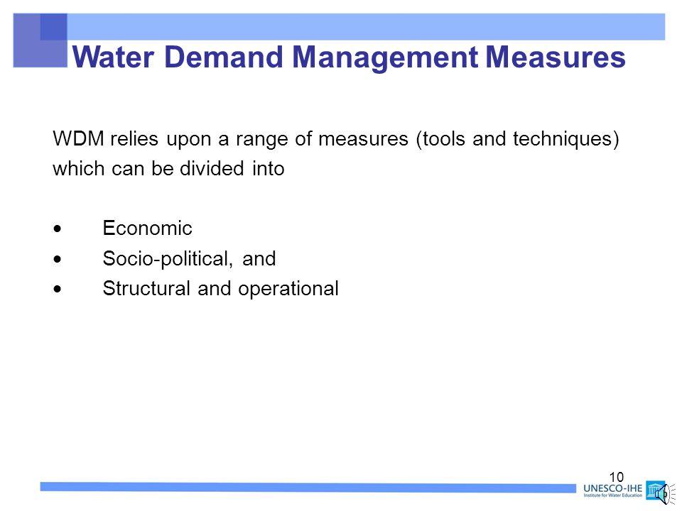 WATER DEMAND MEASURES Part B 9