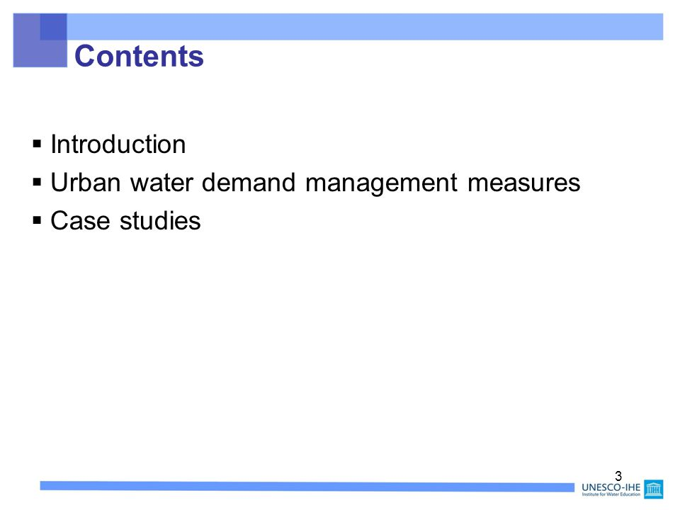 13 Structural and operational measures are used to achieve better control over water demand.
