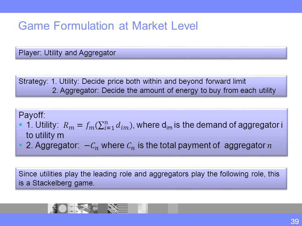 Game Formulation at Market Level Player: Utility and Aggregator Strategy: 1.