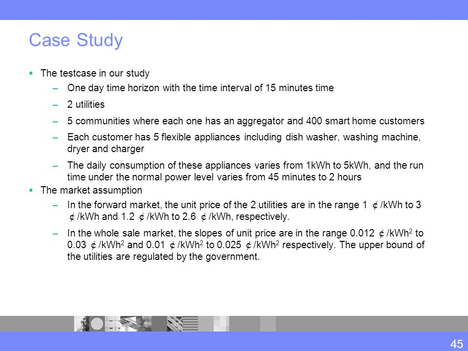 Case Study  The testcase in our study –One day time horizon with the time interval of 15 minutes time –2 utilities –5 communities where each one has