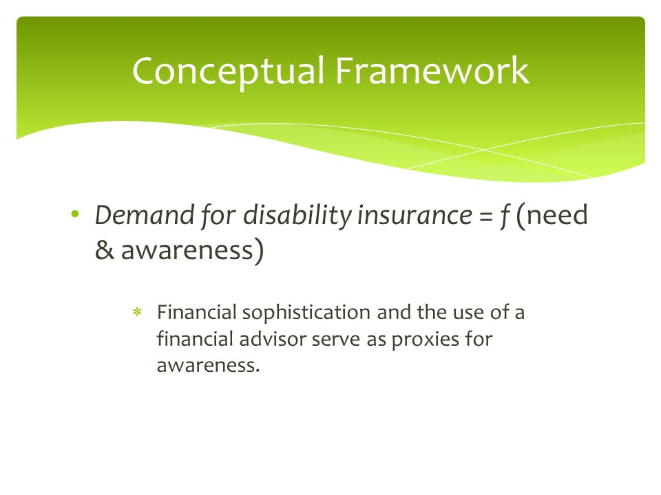 Demand for disability insurance = f (need & awareness)  Financial sophistication and the use of a financial advisor serve as proxies for awareness. C