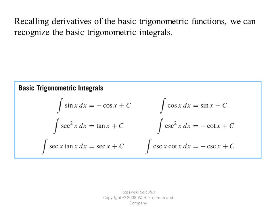 Rogawski Calculus Copyright © 2008 W. H. Freeman and Company Recalling derivatives of the basic trigonometric functions, we can recognize the basic tr