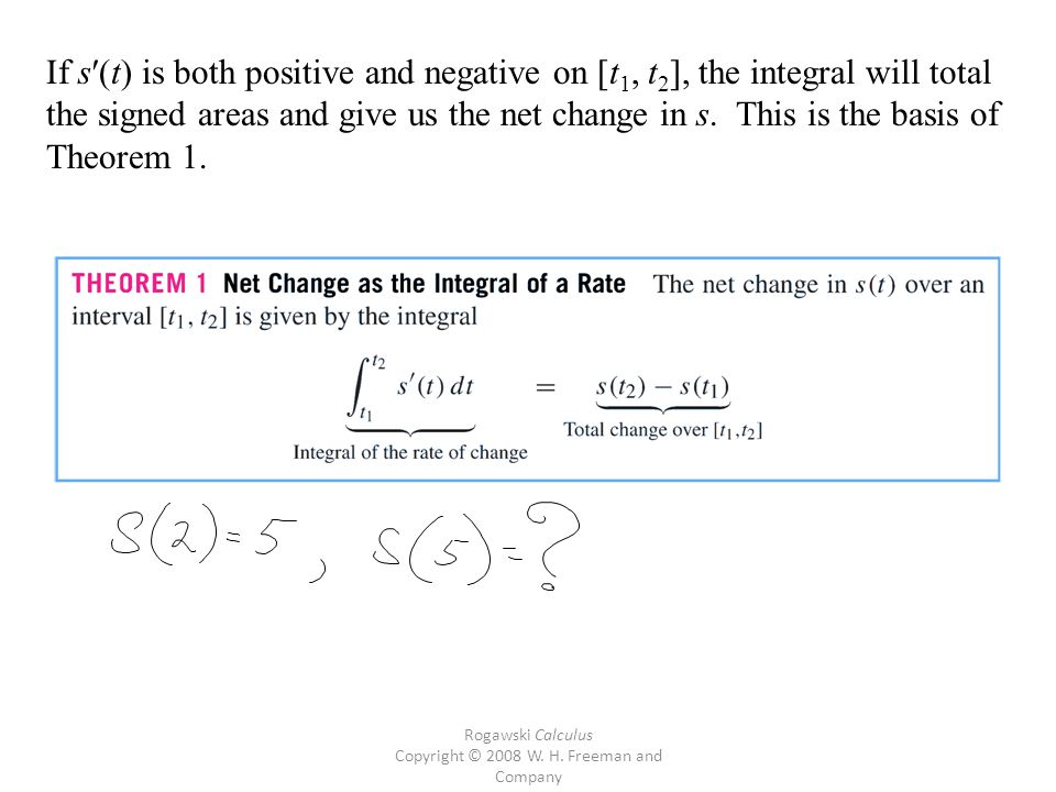 Rogawski Calculus Copyright © 2008 W. H. Freeman and Company If s′(t) is both positive and negative on [t 1, t 2 ], the integral will total the signed