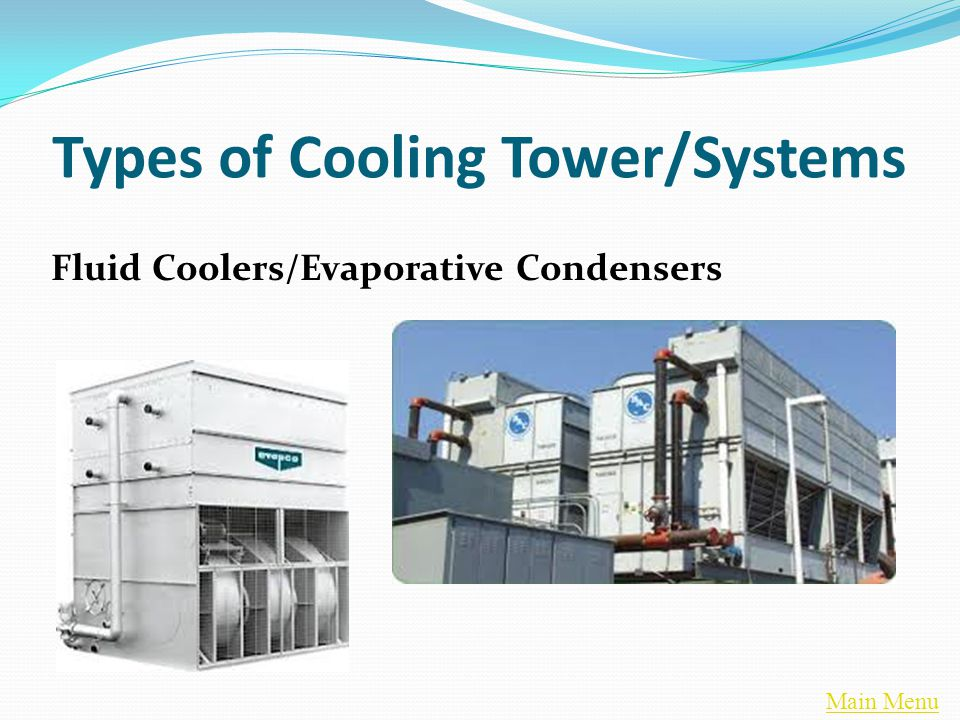Main Menu Fluid Coolers/Evaporative Condensers Types of Cooling Tower/Systems