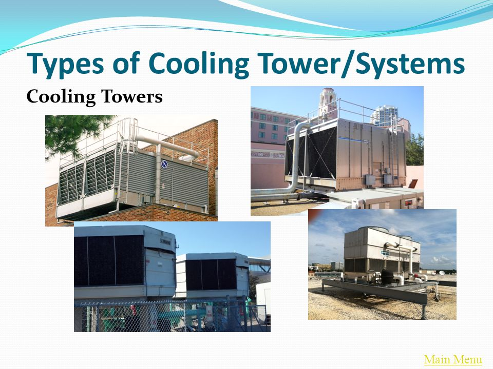 Main Menu Cooling Tower Applications – Capacity Control Reduced water flow may result in uneven distribution of water through the wet deck Reduces Thermal Efficiency Increases Potential Scale Build -Up Increases Potential Carry-Over/Drift Increases Potential for Motor Overload (Centrifugal Fan Units) Increases Potential Icing in Winter in North
