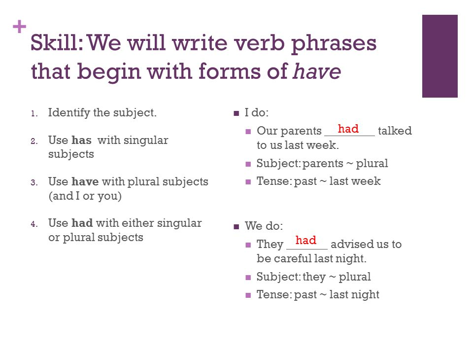 + Skill: We will write verb phrases that begin with forms of have I do: Our parents talked to us last week.