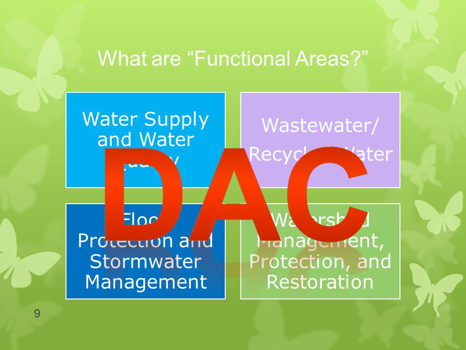 What are Functional Areas? 9 Water Supply and Water Quality Wastewater/ Recycled Water Flood Protection and Stormwater Management Watershed Management, Protection, and Restoration
