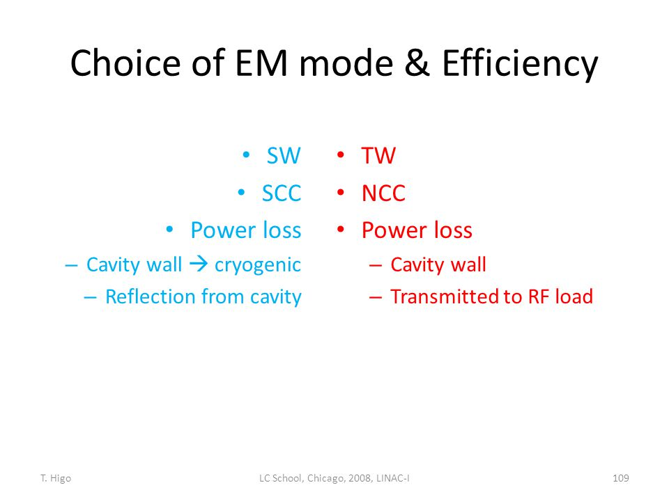 Choice of EM mode & Efficiency SW SCC Power loss – Cavity wall  cryogenic – Reflection from cavity TW NCC Power loss – Cavity wall – Transmitted to R